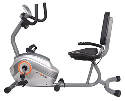 Body Xtreme Fitness Recumbent Bike BXF003 - Home Exercise Equipment, Silver/Orange, Magnetic Tension Recumbent Bike with Workout Goal Setting Computer!