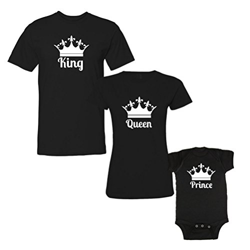 We Match! 3-Piece King, Queen & Prince (White Print) Matching T-Shirts & Bodysuit Set (Mens Large/Womens Medium/Baby 6M, Black)