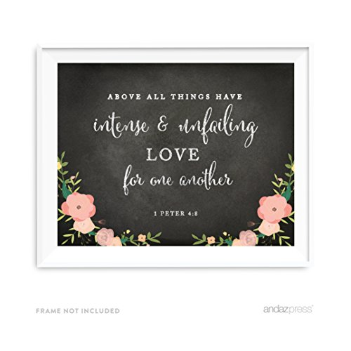 Frame Mini California (Andaz Press Biblical Wedding Love Quote Wall Art, Chalkboard Floral Roses Print Poster, 8.5x11-inch, Above all things have intense and unfailing love for one another, 1 Peter 4:8, Bible Verse, 1-Pack)