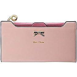 JD Million shop Fashion Wallet Female Carteira Feminina Lady Women Purse Long Zip Wallets PU Thin Card Holders Purse Women (Pink)