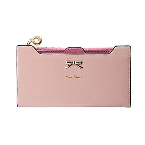 JD Million shop Fashion Wallet Female Carteira Feminina Lady Women Purse Long Zip Wallets PU Thin Card Holders Purse Women (Pink)