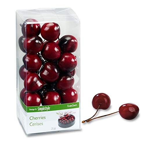 (FloraCraft 25 Piece Decorative Fruit Cherry)