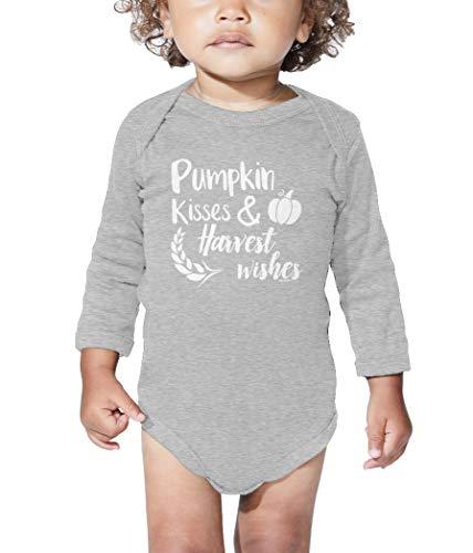 Light Pecan Pie - Pumpkin Kisses & Harvest Wishes - Autumn Long Sleeve Bodysuit (Light Gray, 12 Months)