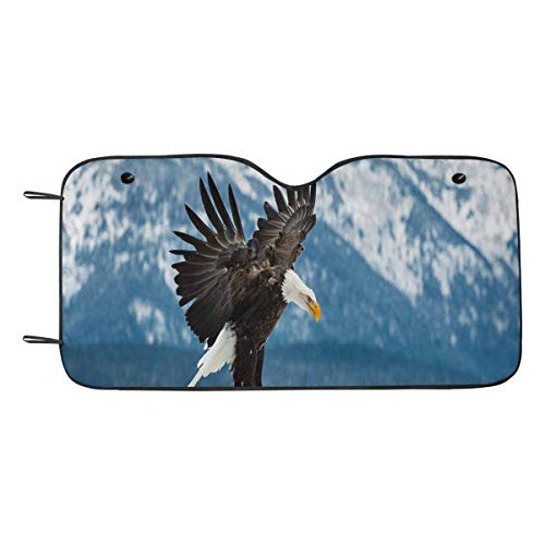 - InterestPrint Flying Bald Eagle Auto Windshield Sun Shades Car Front Window Cover Keep Vehicle Cool