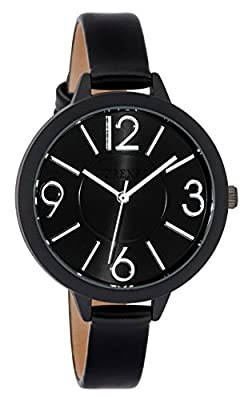 Ferenzi Women's FZ18504 Modern Silver-Tone and Matte Black on Black Leather Medium Easy Reader Analogue Quartz Fashion Watch
