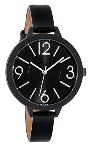 - Ferenzi Women's FZ18504 Modern Silver-Tone and Matte Black on Black Leather Medium Easy Reader Analogue Quartz Fashion Watch