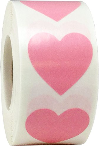 Pink Heart Stickers For Valentine's Day Crafting Scrapbooking 1 Inch 500 Adhesive Stickers (Heart Pink Stickers)