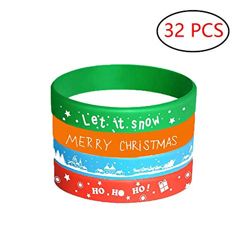 32 Pcs Merry Christmas Silicone Bracelets Party Supplies Games Birthday Party Decorations Party Favors Gifts for Kids -