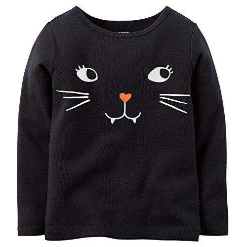 Carter's Little Girls' Long-sleeve Halloween Tee (3T, Black Kitty) (Girls Halloween Shirts)