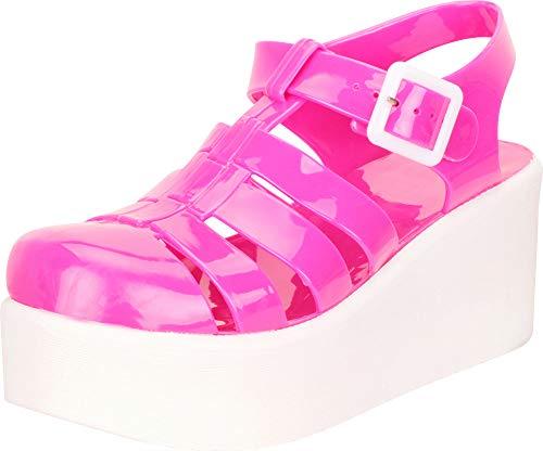 Pink Medium Jelly - Cambridge Select Women's Retro 90s Cutout Caged Chunky Flatform Jelly Sandal,8 B(M) US,Fuchsia