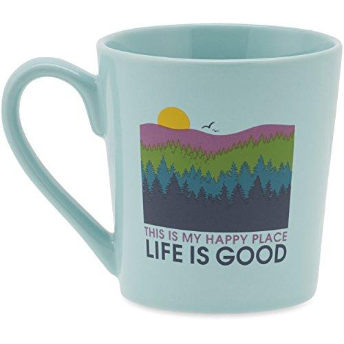 Life is good Everyday Happy Forest Mug, Cool Aqua, One Size