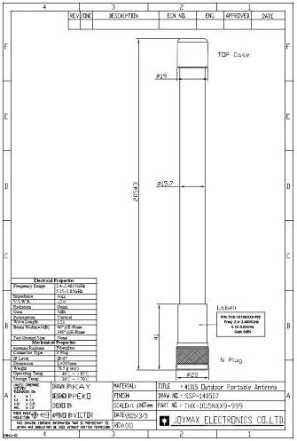 Joymax Outdoor WLAN Antenna THX-1015NXX9 2.4//5 GHz N Plug Male Antenne