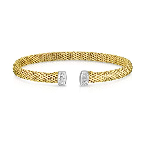 14K Yellow Gold with Rhodium Finish 5.2mm Shiny Dome Cuff Popcorn Bangle and 0.03ct White Diamonds