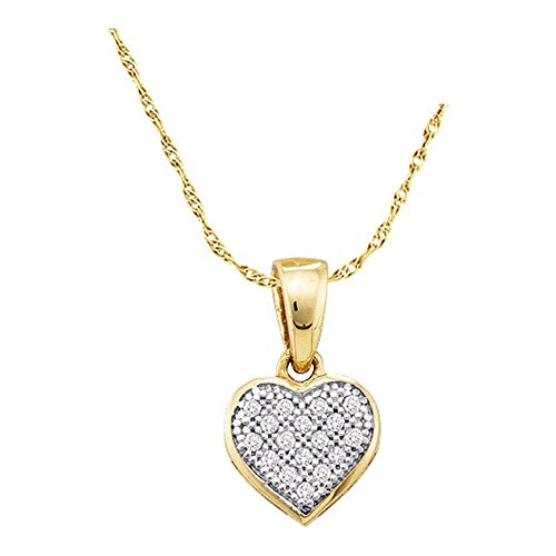 10k Yellow and White Two 2 Tone Gold Round Pave Set Love Heart Shape Diamond Pendant (.05 cttw)