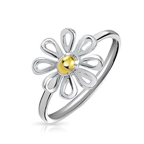 (Tiny Two Tone Flower Daisy Ring For Teen For Women Thin Band 14K Gold Plated 925 Sterling Silver)