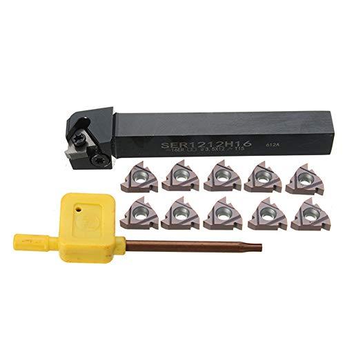 (CNC Turning Tool Hardware Tools, SER1212H16 Threading Lathe Turning Tool Holder Boring Bar 10Pcs 16ER AG60 Insert, CNC Cutter Outer Turning Tool (Black))