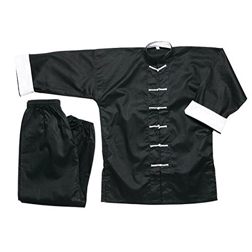 ACE Martial Arts Supply Complete 100 %コットンブラックKung Fu Uniform withホワイトボタン B00PSO8Z78  6