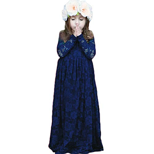 CQDY Ivory Lace Flower Girl Dress Long Sleeves Princess Communion Dresses for 2-13T (Navy Blue, Navy Blue 8-9T(130CM Height)) ()