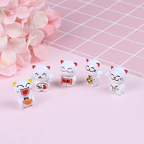Figurines & Miniatures - 5pcs Cartoon Lucky Cats Micro Landscape Kitten Feng Shui Home Garden Decorations Miniatures - People Metal Silver Miniatures Figurines -