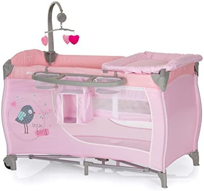 Birdie/Pink Hauck Baby Centre Travel Cot with Folding Mattress Bassinet, Changing Top, Nappy Station and Cot Mobile