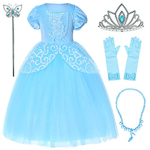 9-layers Tulle Skirt Princess Cinderella Costume Girls Dress Up With Accessories 4T -