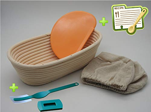 10 Inch Oval Bread Proofing Basket - Banneton Proofing Basket + Cloth Liner + Dough Scraper + Bread Lame + Starter Recipe Set - Sourdough Basket Set For Professional and Home Bakers Bread Making