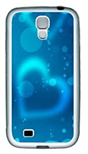 Blue Fantasy Heart TPU Rubber Soft Case Cover For Samsung Galaxy S4 SIV I9500 White