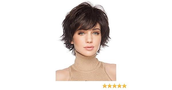 corto mujer Cabello marrón para las mujeres de pelo falso sintética cortas pelucas: Amazon.es: Joyería