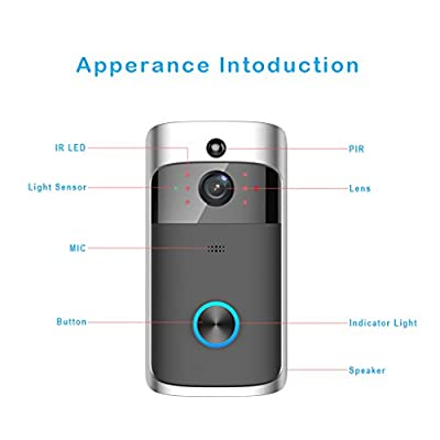 YUZES WIFI Video Doorbell,Wireless Ring Doorbell with Camera, Mobile Phone Remote Monitoring Visual Doorbell, Smart Doorbell for Home, High Security Camera APP Control for IOS/GOOGLE PLAY /Android.