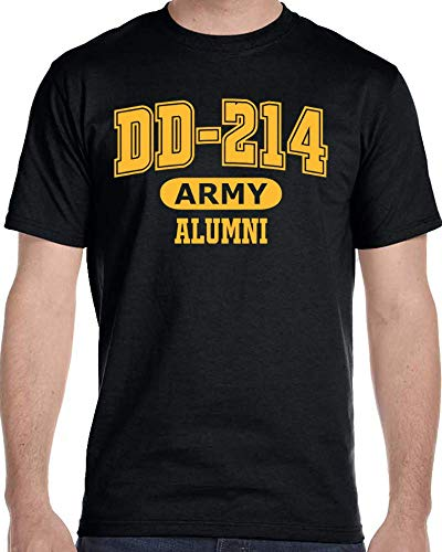 DD-214 Alumni Black and Gold US Army T Shirt for Proud, Brave Army Veterans Tshirt (Large) ()