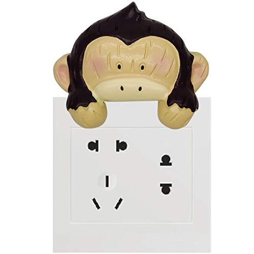 Monkeys Peel (Cartoon Wall Stickers Switch Decoration Animal Switch Cover with Easy Peel and Stick Wall Adhesives (Monkey))