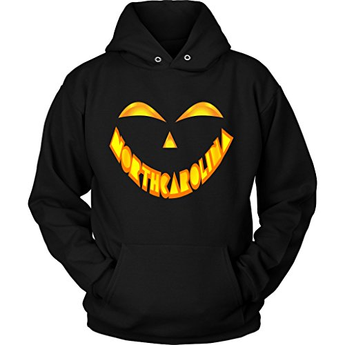 North Carolina Jack O' Lantern Pumpkin Face Halloween Costume Hoodie, 3XL -