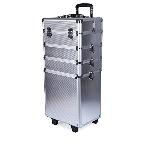 4 in 1 Professional Multifunction Artist Rolling Trolley Makeup Beauty Train Case Cosmetic Organizer (Silver) by Topwigy