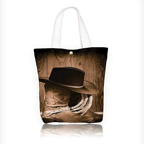 Women's Canvas Tote Handbags Western Wild West Themed Cowboy Hat and Ranching Rope On Wooden Casual Top Handle Bag Crossbody Shoulder Bag Purse W11xH11xD3 INCH ()