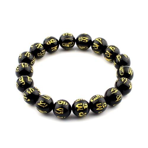 Agate Carved Bracelet Black (O-stone Brazil Black Agate Bracelet Carved Om Mani Padme Hung 10mm Meditation Mala Grounding Stone Protection)