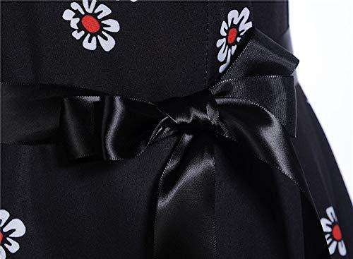 Anniversaire Cocktail RTro Rockabilly avec 60 Manche Noir sans 40 50 Vintage AnnE Ceinture pour Robe Robe Party Princesse De Robe Halter De Yogogo Licou q1xwp1