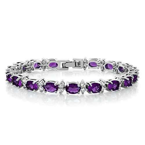 Gem Stone King 20.00 Ct Gorgeous Oval and Round 7inches Sparkling Cubic Zirconia CZ Tennis Bracelet ()