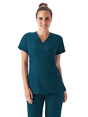 Blue Blend (Classic Fit Collection by Jockey Women's Tri Blend Solid Scrub Top Large Caribbean Blue)