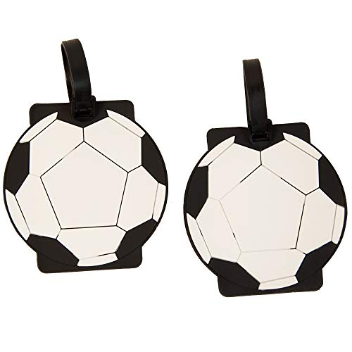 Soccer Bag Tag - 2 Pieces Set of Luggage ID Tags, US Suitcase Baggage Identifier (Soccer)