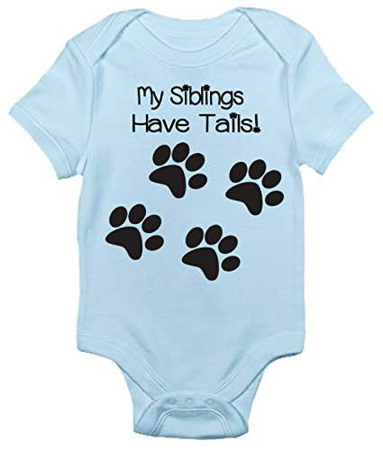 Rapunzie My Siblings Have Tails Baby Bodysuit Cute Baby Clothes for Infant Boys and Girls (0-3 Months, Light (Childrens Designer Clothing)