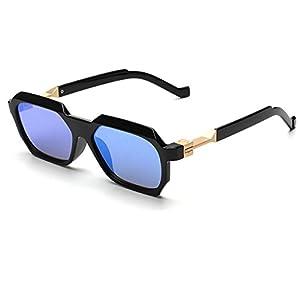 Konalla Vintage Sunglasses Rectangular Geometric Frame Unisex glasses UV400 C4