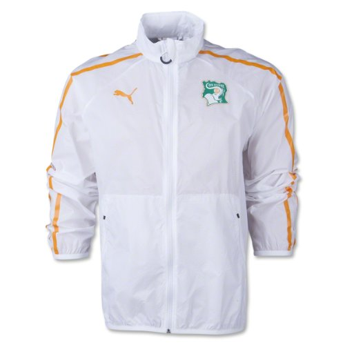(PUMA Men's Ivory Coast Walk Out Jacket, White/Flame Orange SM)