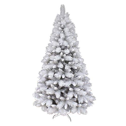 Mr Crimbo 6ft (180cm) Silver Mixed Pine Artificial Christmas Xmas Tree With Glistening Silver Glitter PVC Needles, 587 Branch Tips, Folding Metal Base