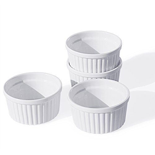 Individual Souffle Dish (Cinf Porcelain Ramekin White 8 oz. Pudding Bowls Dishes Cup for Baking- Set of 4,Souffle Cups Dishes, Creme Brulee, Custard Cups, Desserts, Oven, Microwave, Freezer and Dishwasher Safe)