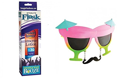 Fun in the Sun Sunscreen SPF 30 Flask with Cocktail - Novelty Sunglasses Cocktail