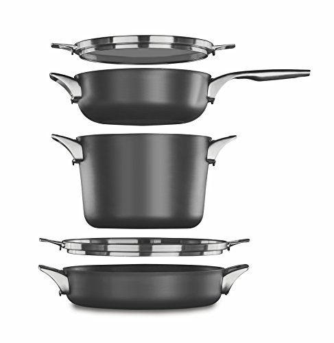- Calphalon Premier Space Saving Nonstick Supper Club Set