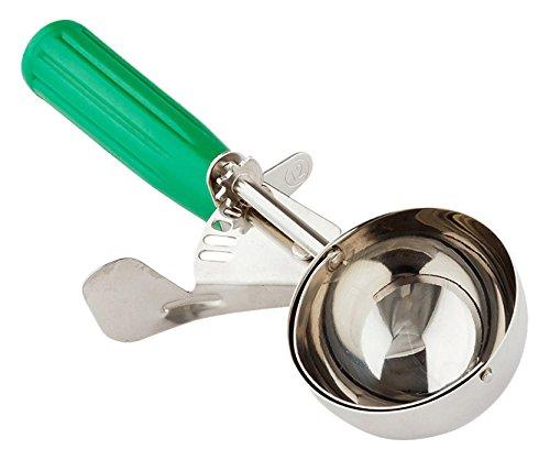 Green Ice Cream - #12 (3.25 oz) Disher, Scoop, Food Scoop, Ice Cream Scoop, Portion Control - Green Handle, Stainless Steel, Met Lux - 1ct Box - Restaurantware