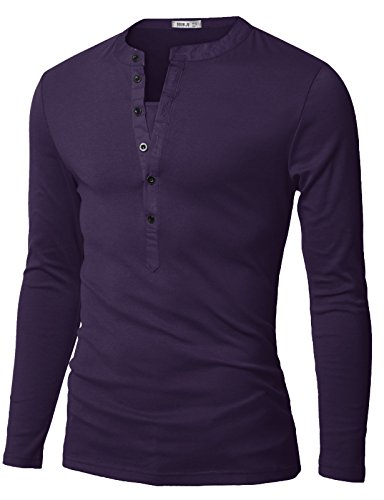 Doublju Mens Long Sleeve Henley T-Shirts with Button Placket, Deeppurple US Small/Asia Medium