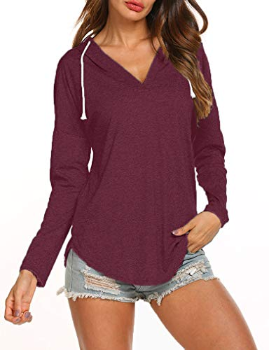 Ours Women's Top Long Sleeve Drawstring Casual T-Shirt Tee Fall Blouse Rose Red XXL