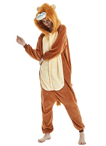 Unisex Animal Onesie Adult Halloween Cosplay Costumes for Women Men (XL, Lion) ()